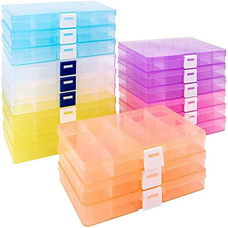 Plastic Jewelry Organizer Box Transparent Display Case 15 Grids Plastic Storage Boxes Beads Earring Rings Jewelry Container