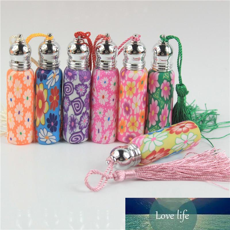 100 adet / grup 6 ml10ml fimo rulo cam uçucu yağ şişesi aplikatör polimer kil lekeli dekorasyon metal kap ile püskül