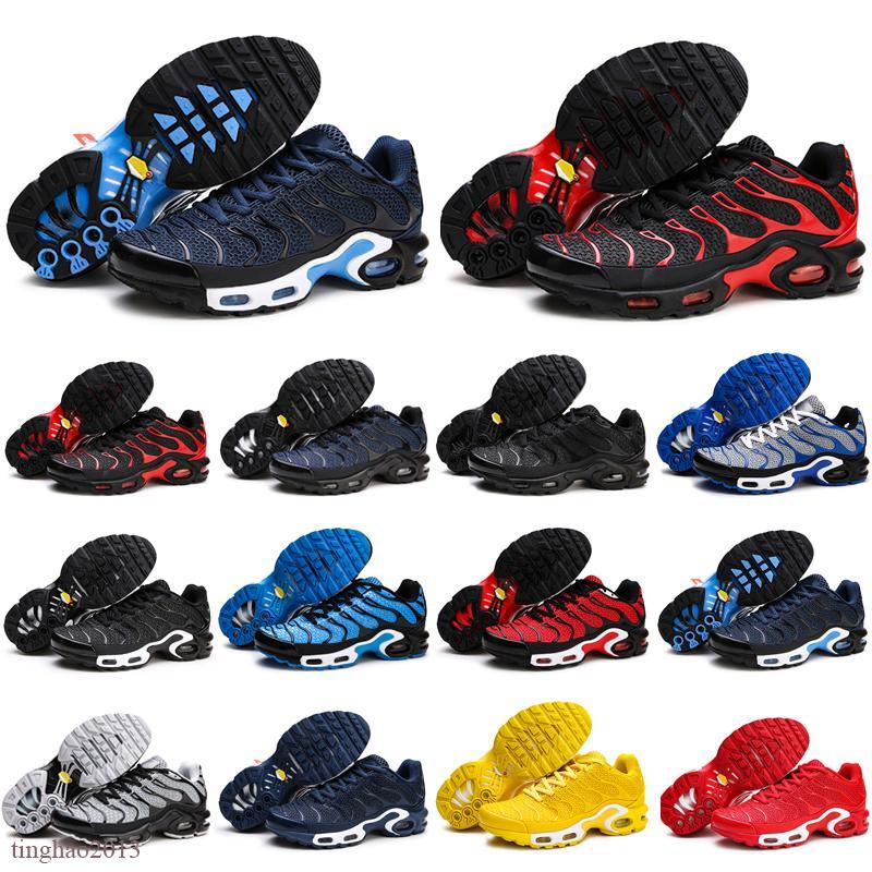 Taille 13 Run Utility Tn KPu Plus Mens de course Chaussures de course Coussin Matériau Homme Noir Zapatille Sports Sneakers Sneakers Traussures Chaussures