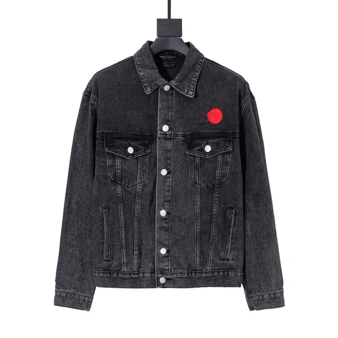 Mens jaquetas casal pares estilo jean jaqueta outono casacos impressão casual bordado estilista sobretudo outwear