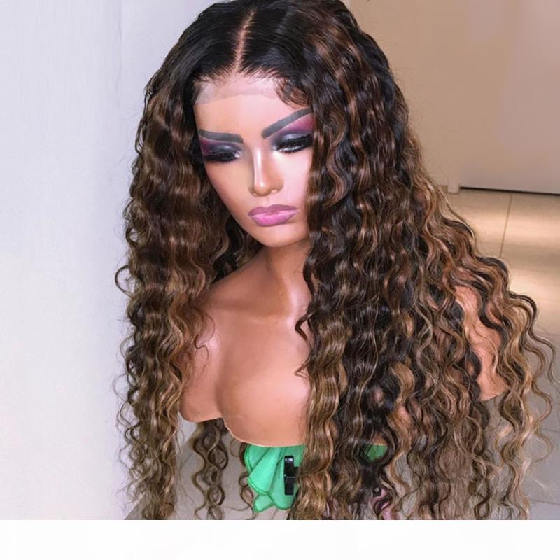 150% de grosor de largo Remy pelucas de pelo humano brasileño Ombre destaca la peluca llena de cabello humano de encaje para las mujeres