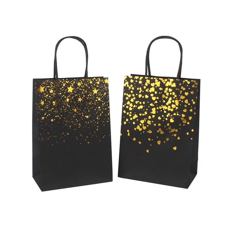 Black Hot Stamping Handbag Tote Bag Card Paper Bag Fashion Kraft Paper Gift Packaging Bag Green Shopping Bags EEF4342