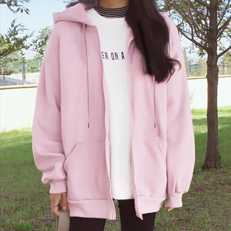 Sudadera de las mujeres Casual Colores sólidos de gran tamaño con capucha completa con capucha, chaqueta con capucha 2021 espesando de invierno tops de cálido de manga larga