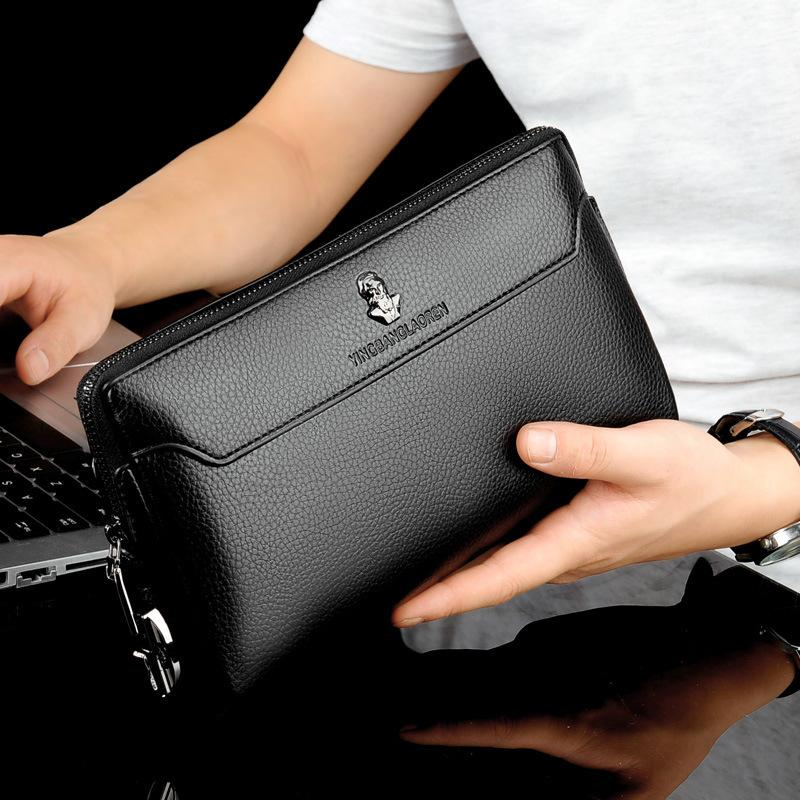 Мужская Противоугонная Бизнес сумки кодированный день блокировки Мужской сцепления большой емкости Длинный кошелек Чехол для телефона карты держатель