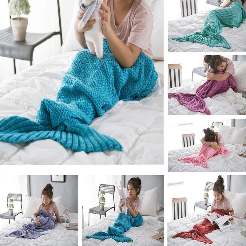 Para crianças fios de cobertura da cauda de sereia fios de crochet feitos de crochet Cobertores de sereia de lançamento envoltório de cama macio Soft Dormir Rug Presentes de Aniversário DHD3849