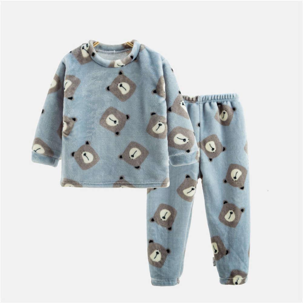 home Autumn winter girls' boys' and wear flannel pajamas setCK1B
