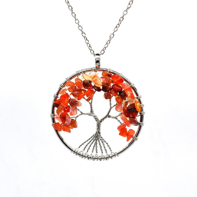 2020 Baum des Lebens Halskette Natürliche Heilung Baum des Lebens Anhänger Amethyst Rose Kristall Halskette Edelstein Chakra Schmuck Für Frauen Geschenk