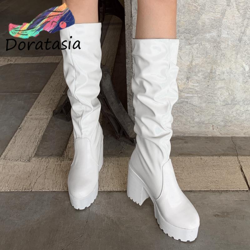 Сапоги Доратазия Женщины Сплошные Бренд Дизайн Обувь Для Платформы Платформа Slip На Модном Блоковом каблуке Средний Тельф
