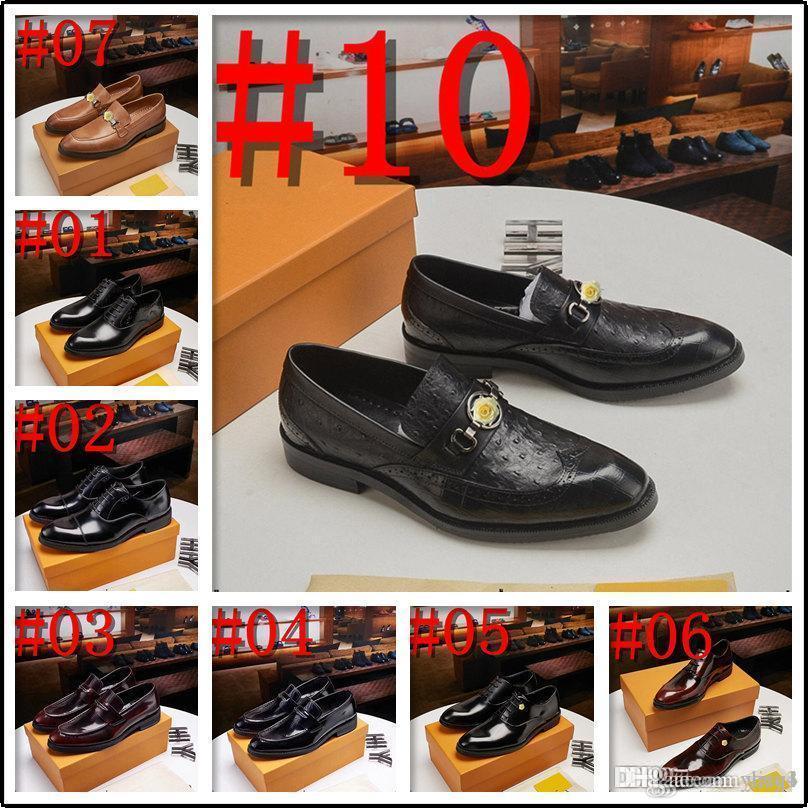 Q4 새로운 19SS 럭셔리 남성 드레스 신발 정품 가죽 통기성 중간 세 비즈니스 라운드 발가락 웨딩 신발 남성 플랫 33