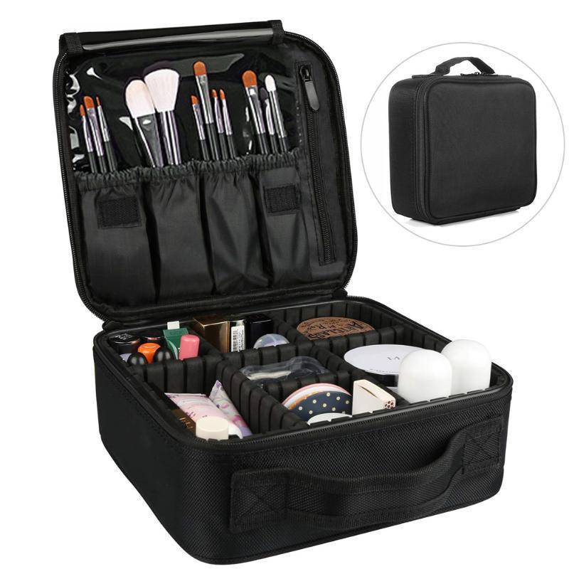 Manejar la bolsa de maquillaje de cosméticos multifunción con divisores ajustables Accesorios Organizador de viajes Multilapa Cremallera Joyería Caja
