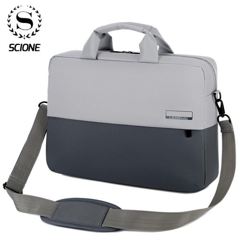 Scione 13 14 16inch Laptop Men's Large Capacity Briefcase Business Office Documents Bag Notebook Bags Long Strap Handbag Q0112