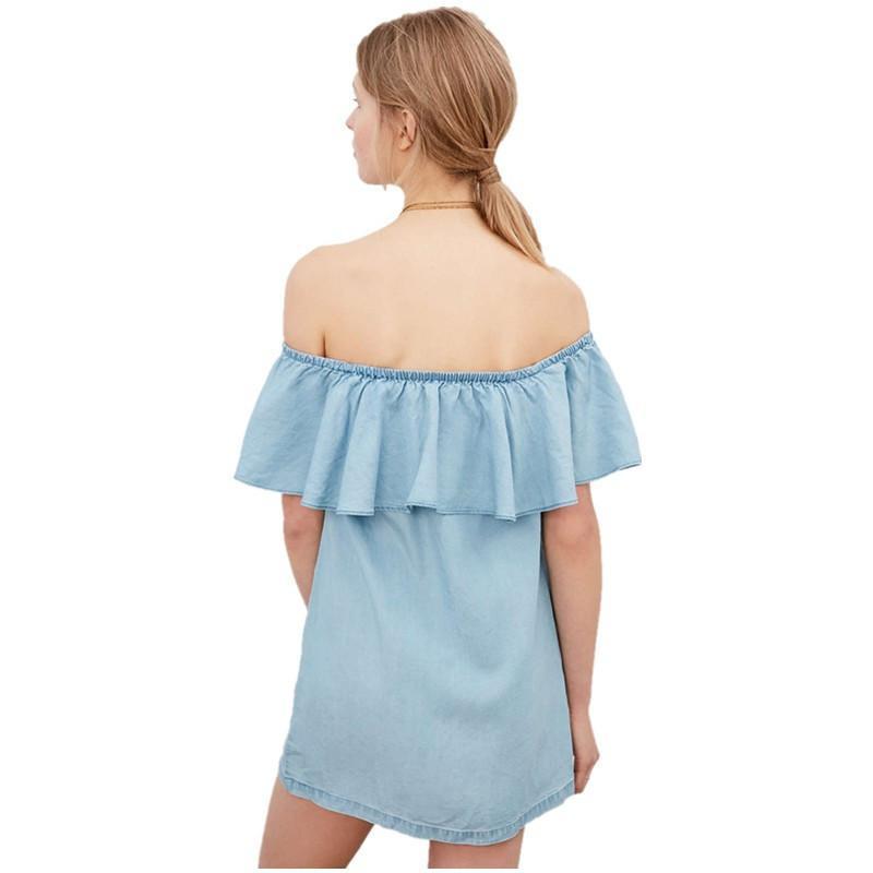 womens sleeveless sling pullover slim loose denim dress female 6YO2EVAIdd