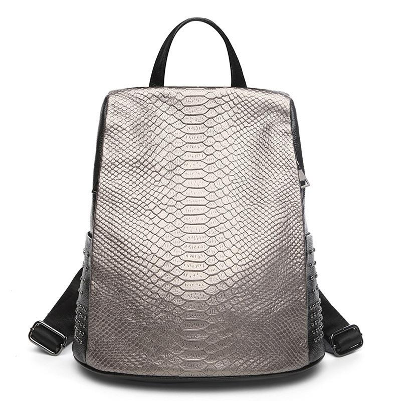 Leisure High Quality Women Backpack Genuine Leather Crocodile Pattern Ladies Bagpack Large Capacity School book Travel Bag Q1113