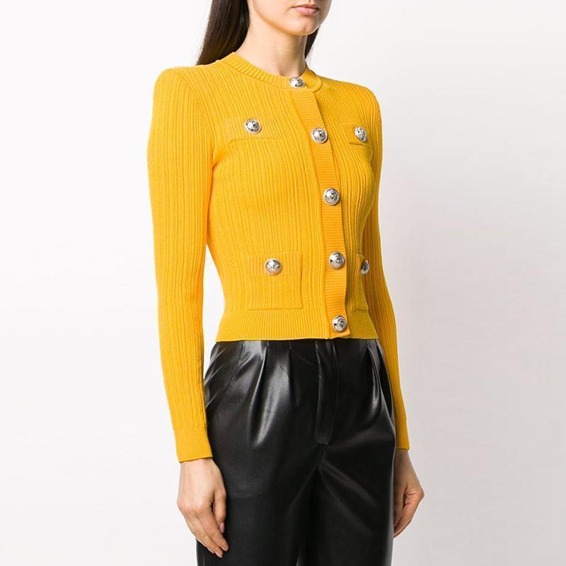 Yüksek Sokak Yeni 2020 Tasarımcı Stil kadın Aslan Düğmeleri Örme Hırka Sweater1