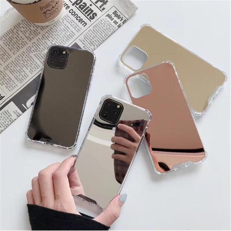 PC TPU antichoc pour iPhone 12 Mini 11 x XR XS Pro Max 6 7 8 Plus Coque Maquillage Avec Cover Mirror Miroir Coque Téléphone Mode