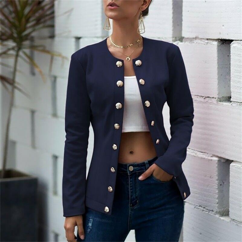 Women Solid Long Sleeve Jackets Cardigan Office Lady Slim Lapel Neck Button Suit Autumn Leisure Tops Outerwear D30 Y201012