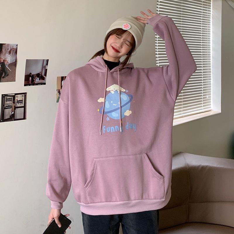 Otoño invierno 2020 nuevo manga larga suéter femenino flojo coreano imprimido con capucha con capucha de dibujos animados chic moda