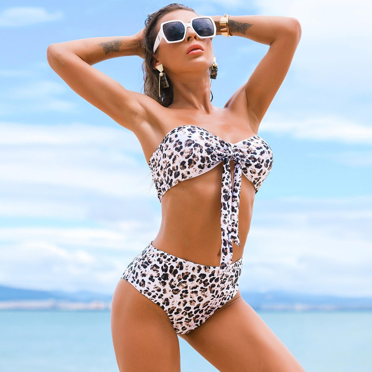 المرأة مثير ملابس السباحة البيكينيات مجموعة 2021 جديد ليوبارد طباعة الصيف الشاطئ اثنين من قطعة ضمادة حمالة عالية الخصر ملابس السباحة الاستحمام beachwear