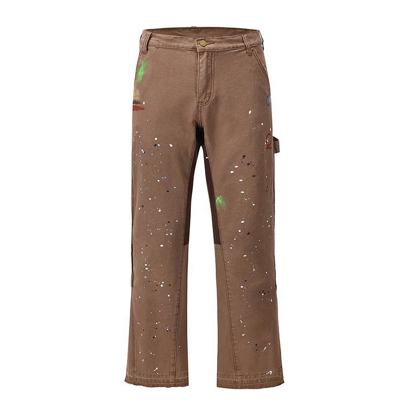 Graffiti Boyalı Geniş Bacak Flare Pantolon Erkek Streetwear Düz Rahat Kot Harajuku Yıkanmış Retro Gevşek Denim Pantolon