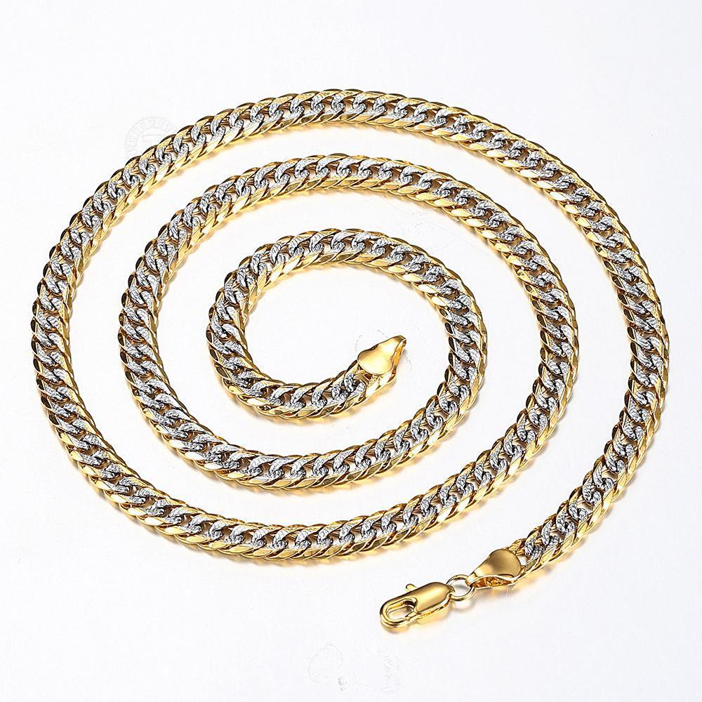 Nova moda 6mm cheia de ouro martelado cortiça corte cubano ouro prata cor colar de corrente para homens mulheres jóias presente atacado fornecimento