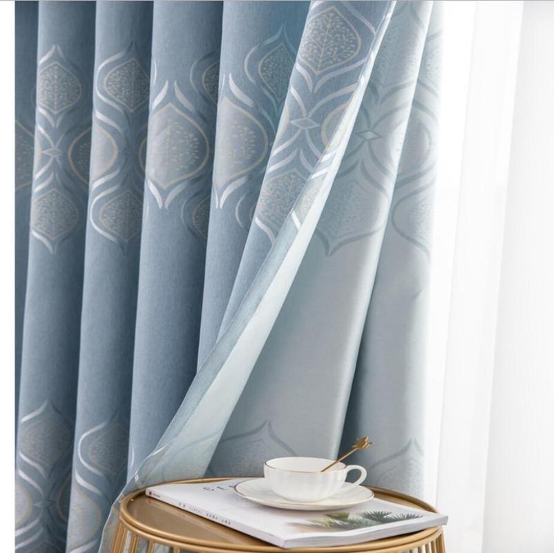 Современное окно спальни Jacquard Blackout Jacquard, голубая гостиная занавес дверь, роскошные серые розовые занавески Drapes Europe
