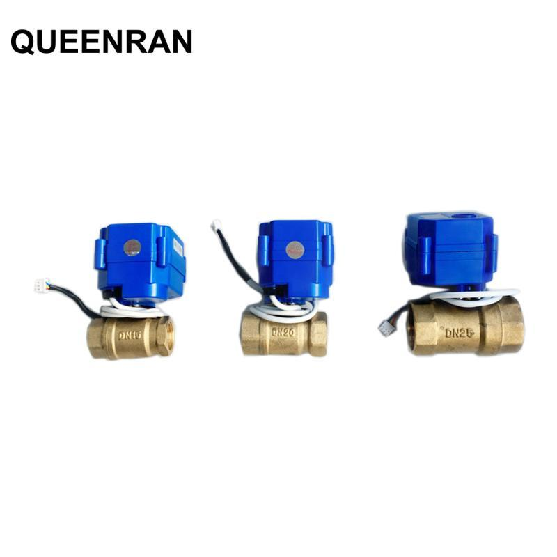 "1 pc 1/2 ""(DN15) 3/4"" (DN20) 1 ""(DN25) DC12V BSP BRONS Válvula de esfera motorizada 3Pin fios para WLD-805 WLD-806 Water Leakage Alarme"