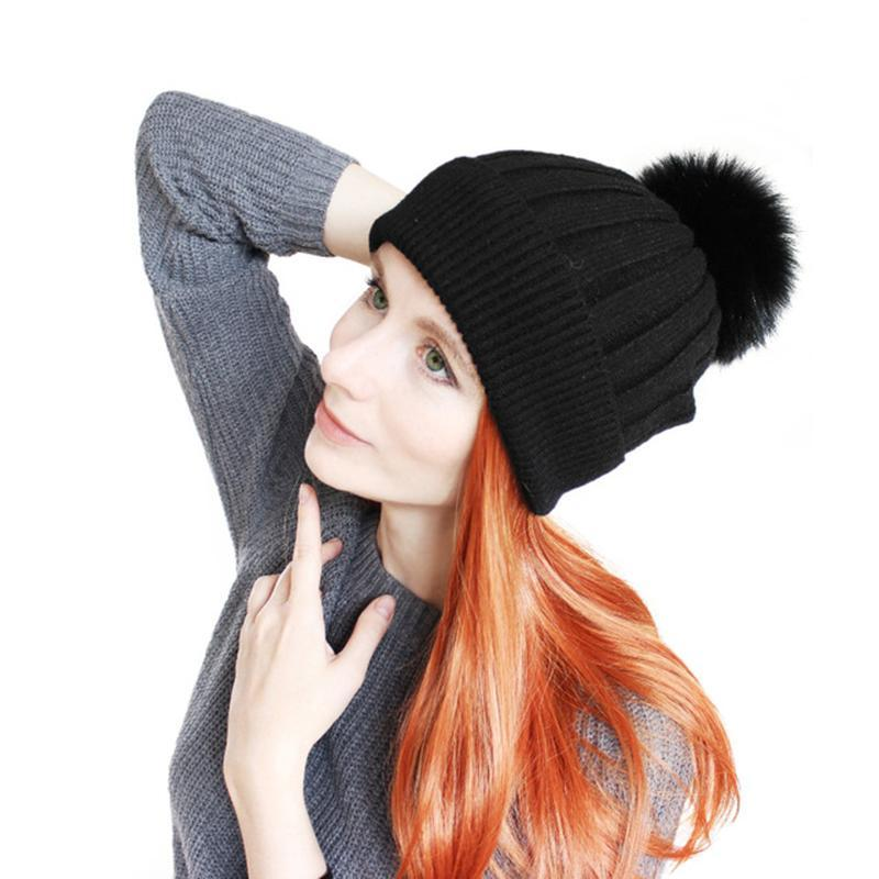 Fashion New Fur Pompoms Hats Winter Wool Wram Skullies Beanies Hats For Women Children Spring Cotton Skullies Beanies
