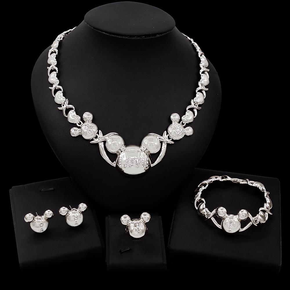 YULAILI all'ingrosso all'ingrosso xoxo set di gioielli ragazza regalo di natale carino collana di studio earrings braccialetto anello anello gioielli da donna spedizione gratuita