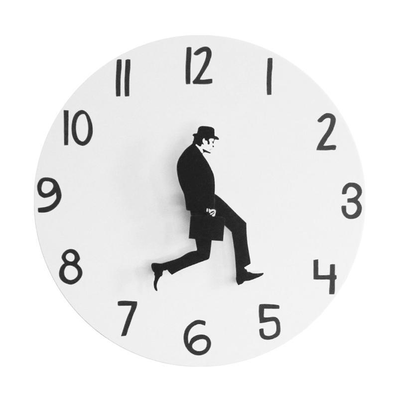 Британская комедия вдохновленное Министерство глупых прогулок настенные часы комик домашний декор новинка настенные часы смешные ходьбы молчаливые без звуки часов LJ201211