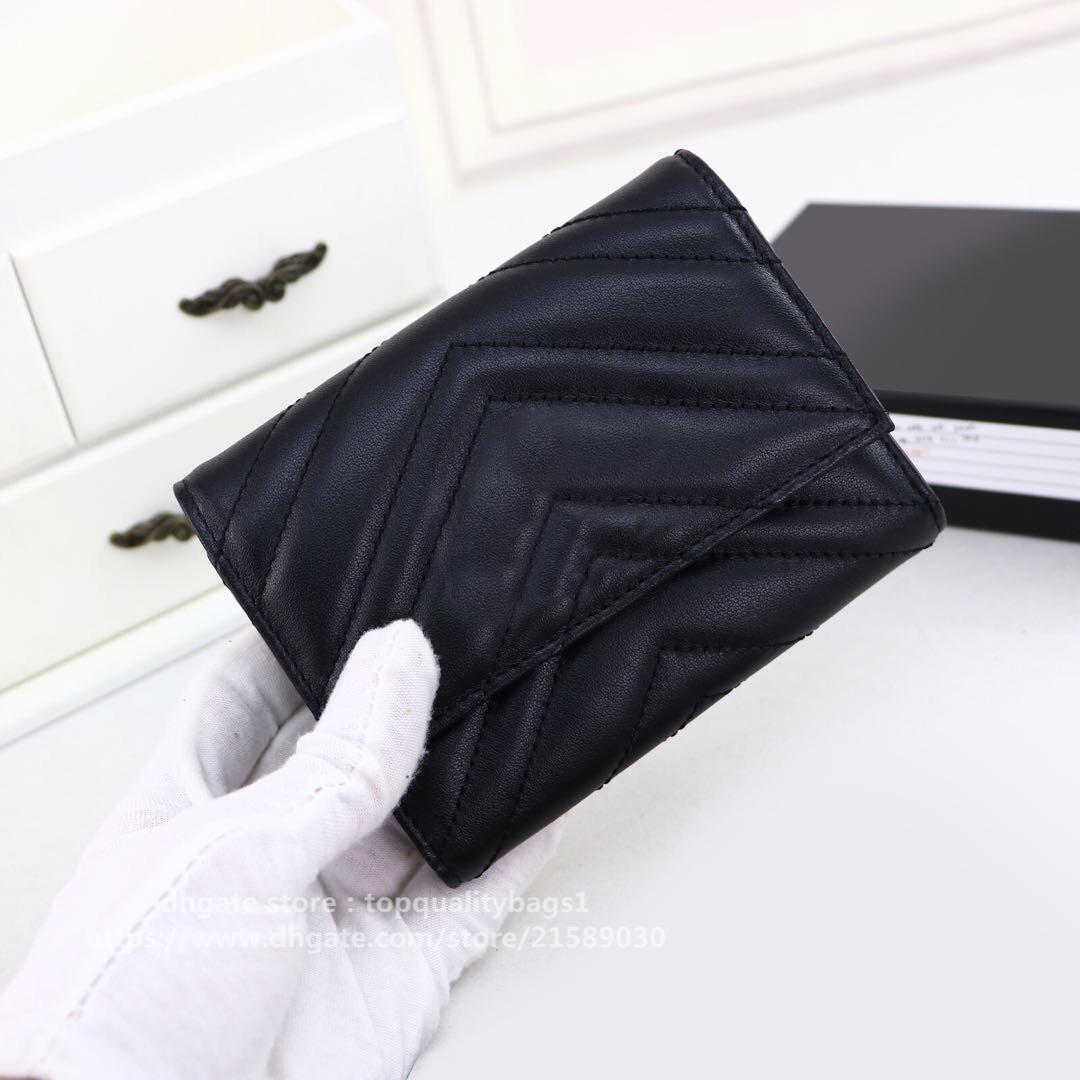 Nuovo portafoglio di design di alta qualità con scatola di lusso in vera pelle classica lettera classica e donne borsa con scatola 12x9x2cm 474802 Shipin gratuito