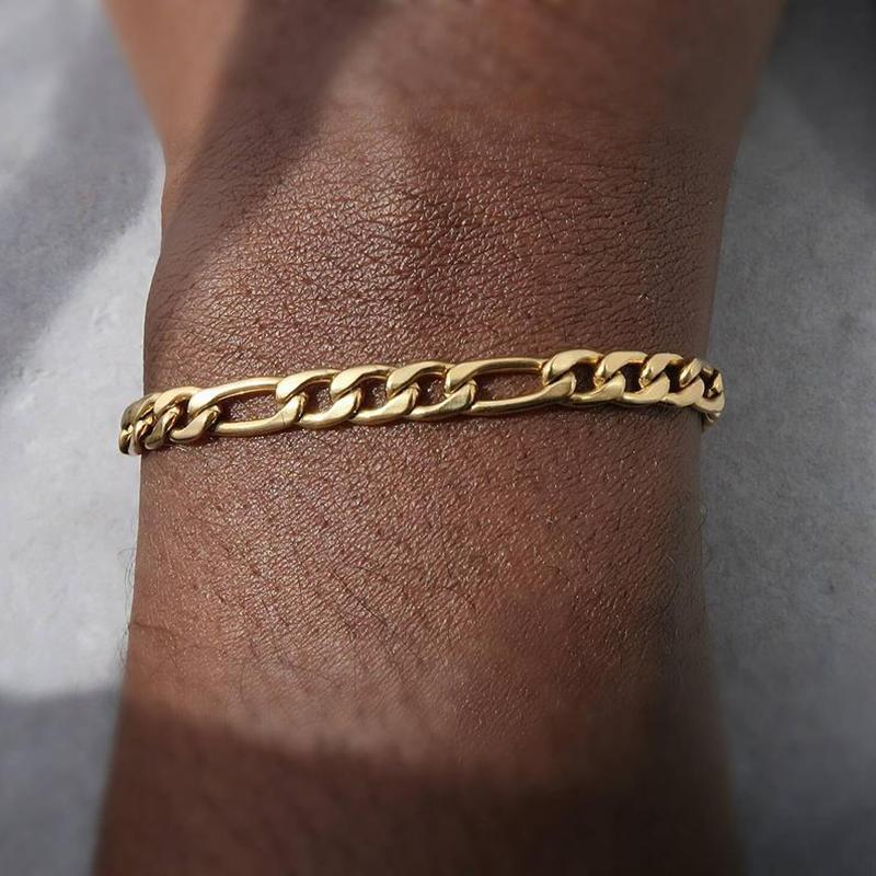 Gold 316L Chain Twist não desvanece homens jóias titanium pulseira de aço inoxidável charme