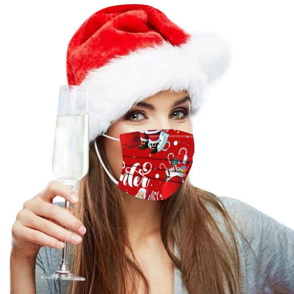 Femmes Adulte Protecteur Enfants Hommes Trois et Couche Impression jetable Masque de Noël Santa Claus Série XHNT4R