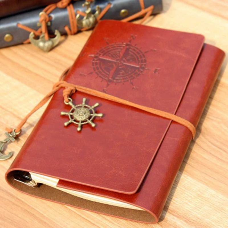 Notepads خمر الجلود غطاء دفتر فارغة يوميات القراصنة تصميم ورقة ملاحظة كتاب المسافر المفكرة القرطاسية اللوازم