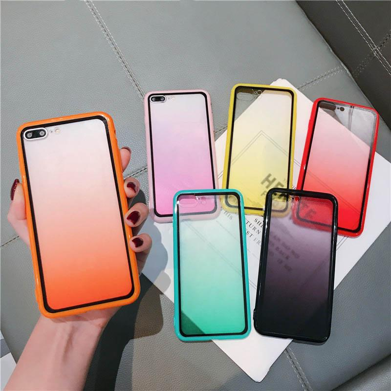 Soft Cover Cases Phone Opp Pack Antiurto antiurto Clear PC Case graduale Colore mobile Shell per iPhone 8plus xr x max 11 Pro