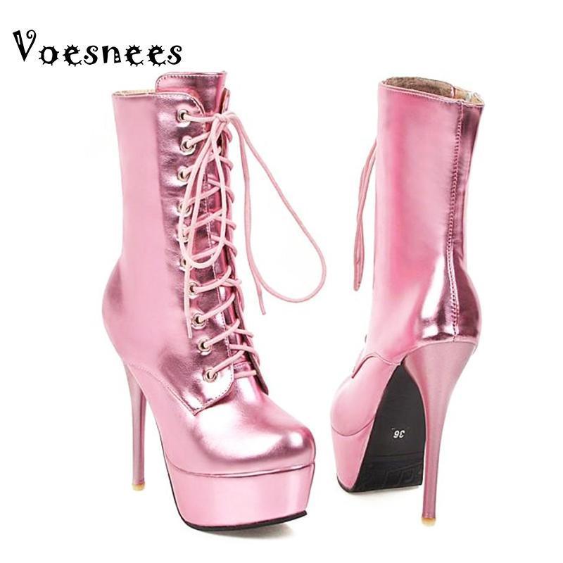 Voesnees Короткие сапоги Женщины 2020 Новая мода Остроконечные Высокие каблуки 13.5cm Stiletto обувь Большой размер Узелок осень и зимние сапоги