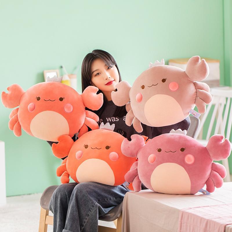 58cm Cute Big Crab Plush Toys Cartoon Crab Doll Soft Animal Sofa Cushion Down Cotton Filled Sleeping Pillow Girls Birthday Gifts T200901