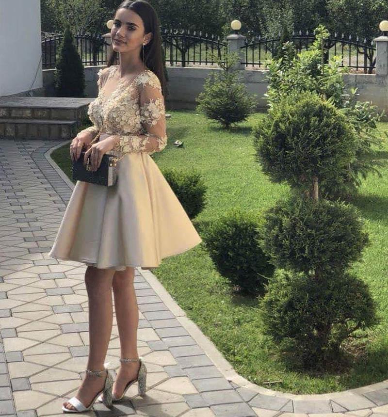 Verano corto una línea vestidos de casero mangas largas apliques cóctel fiesta novia vestido cremallera trasero vestido de dama de honor barato