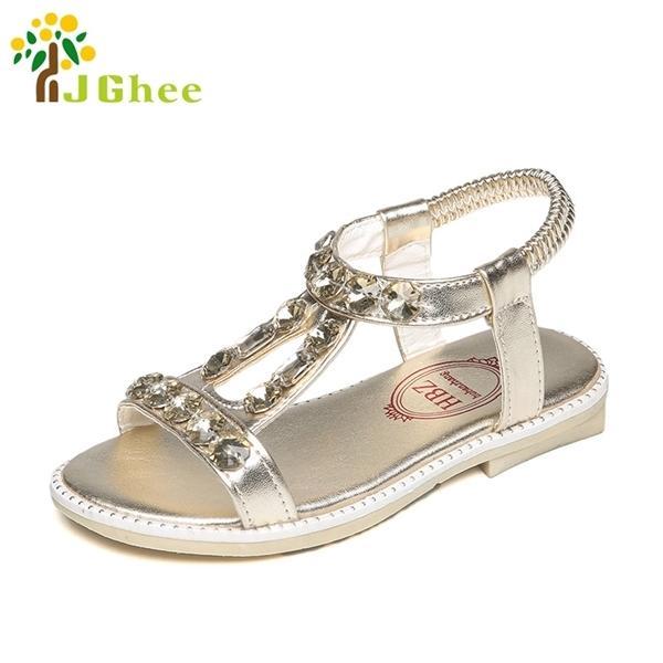 Moda Ragazze estive Sandali Princess PU con Strass Scarpe per bambini Nuovi Scarpe da estate per bambini Vendita calda 16-22.6cm Sweet J1211