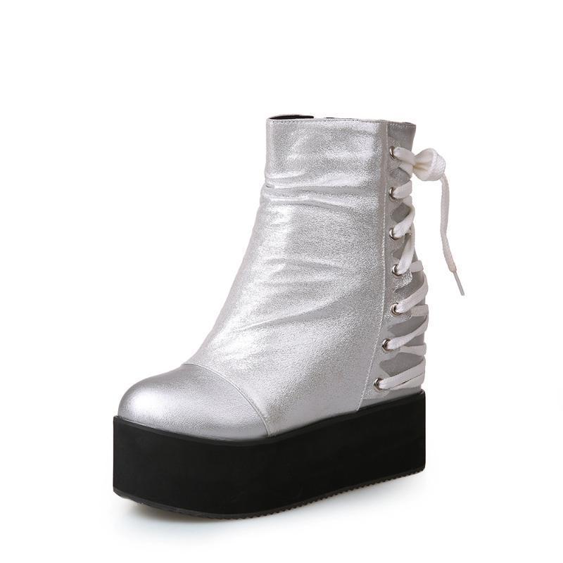 Dame Bottes Chaussures en caoutchouc pour femmes Pluie de luxe de luxe Rond Toile Lolita Rock bas de grande taille Mode mi-veau à lacets