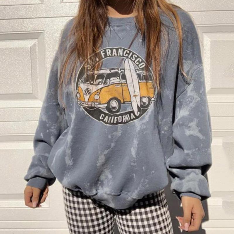 Herbst 2020 Weibliche Vintage Auto Mode Sweatshirts Lange Ärmel Lose Pullover Print Streetwear Mit Kapuze Übergröße Hoodies Frauen MMFND