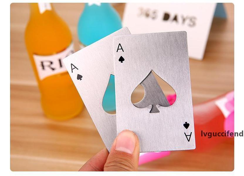Free Shipping Card Beer Bottle Opener Personalized Funny Stainless Steel Credit Card Bottle Opener Card of Spades Bar Tool