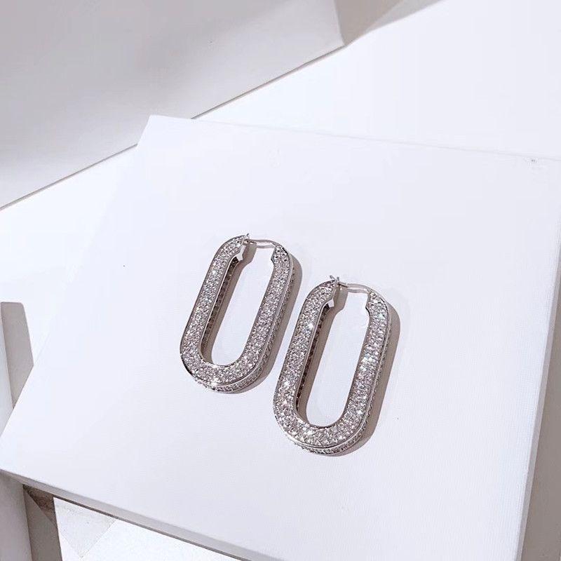 2020 YENI Oval Tam Pırlanta Küpe, Hafif Lüks Stil, Saf Gümüş Kulak Pimleri, Hipoallergeni ile Yüksek Kaliteli Asya Altın Malzemeleri