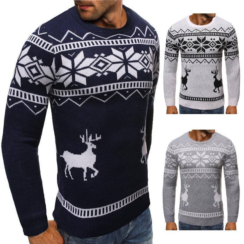 Мужские свитера 2021 зимняя снежинка Рождественский олень свитер теплая вязать пальто полосатый капюшон негабаритный