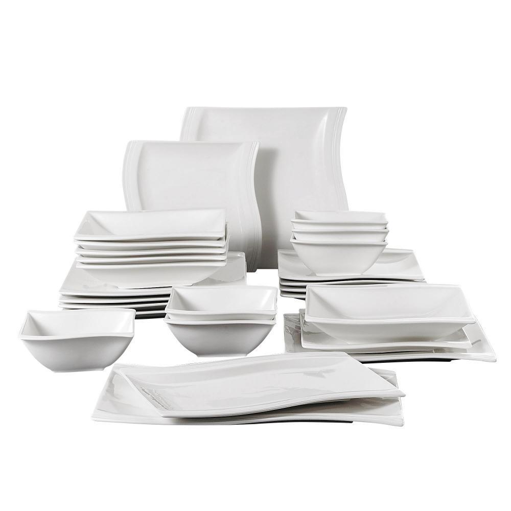 Dîner de porcelaine de 26 pièces Malacasa FLORA avec bols Dessert Soup soupe Plaques de dîner plaques rectangulaires Set service pour 6 personnes Z1123