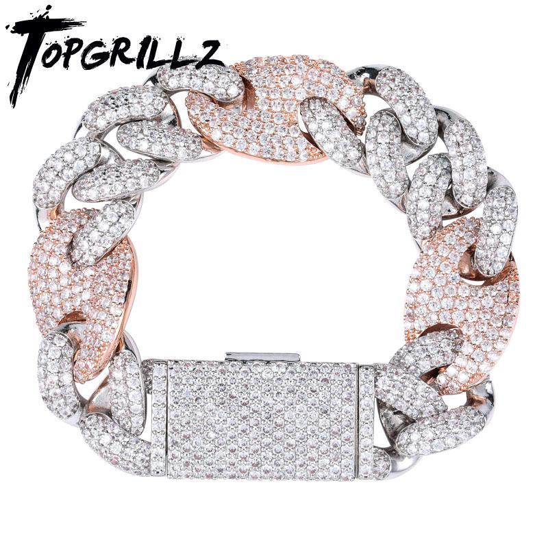 Topgrillz Miami Kilit Toka Küba Link 7 8 9 Inç Altın Gümüş Kaplama Bilezik Buzlu Kübik Zirkon Bling Hip Hop Erkekler Takı Y1125