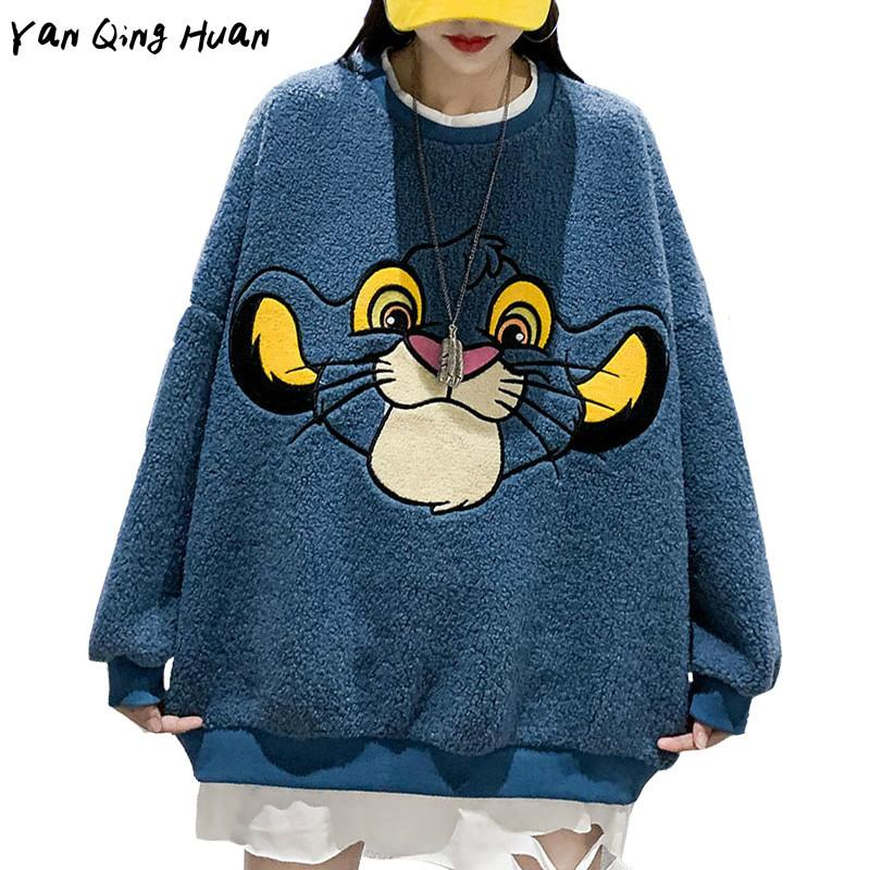 Herbst und Winter plus Samt Dicke Lammwolle Sweatshirt Mode Frauen Mittellang Cartoon Anime Stickerei Harajuku Hoodie Top