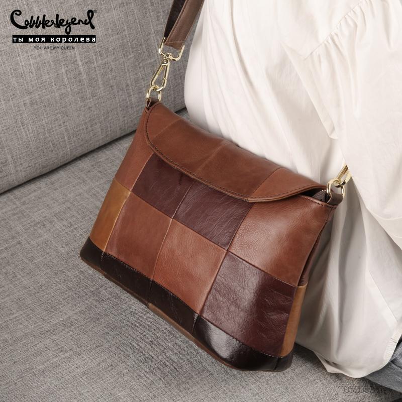 Cobbler Legende 2020 Vintage Damenkuh Echtes Leder Handtaschen Schulter / Messenger Bags Damen Kleine Designer Patchwork Totes