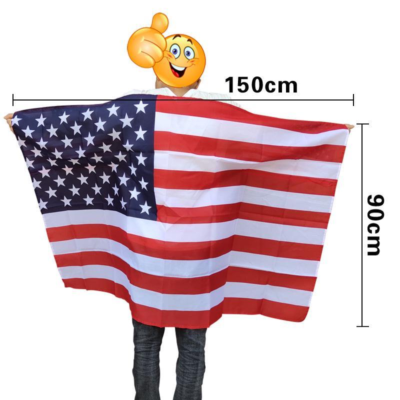Arco-íris EUA Flag Shawl Cape America Gay Orgulho Flags Festival 90x150cm Party Banner Decorações Suprimentos Free DHL
