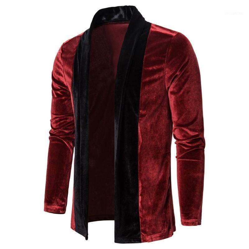 Splicing Gold Velvet Trench Coat Cardigan Sleeve Longo Outwear Outono Inverno Velo Grosso Casacos Homens Streetwear Chapaqueta Hombre1