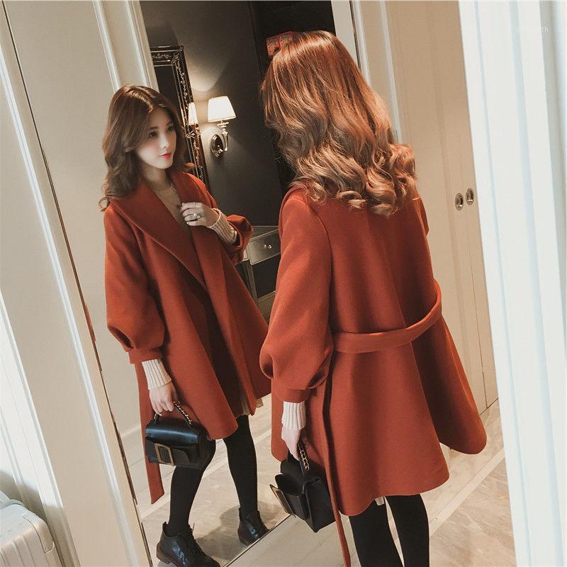 Autunno inverno cappotti di lana donna 2020 coreano spessore caldo lancia larga lanterna manica lunga fianchi di cardigan di lana tuta sportiva femmina1